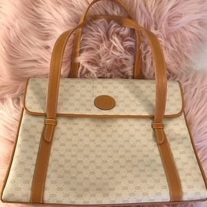 Vintage White and Beige Gucci Handbag